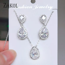 ZAKOL Shiny Water Drop Cubic Zirconia Crystal Earrings Necklace Set for Women Bridal Wedding Party Jewelry FSSP3037(China)