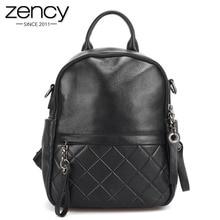 Zency 100% Genuine Leather Vintage Women Backpack Elegant Black Daily Holiday Knapsack Casual Travel Bags Girls Schoolbag White