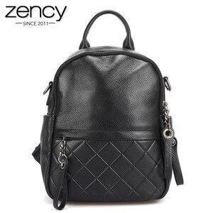 Image 1 - Женский винтажный рюкзак Zency из 100% натуральной кожи, элегантный черный повседневный рюкзак для отдыха, повседневные дорожные сумки, школьная сумка для девочек, белый цвет