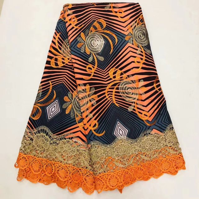 Beautiful African Ankara Wax Cord Lace Fabric High Quality Cotton Embroidery Dutch Print Ankara Lace Wax Pange Materials