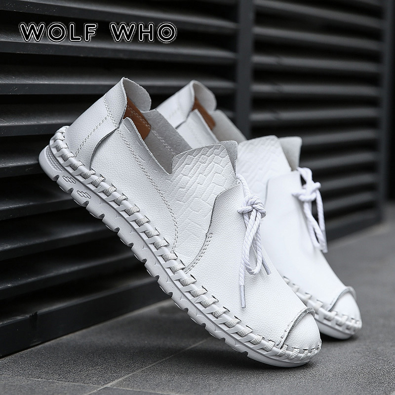 WOLF WHO Plus Size 38-50 Men Shoes Genuine Leather Breathable Male Loafers White Man Driving Casual Shoes Slip On Krasovki W-014