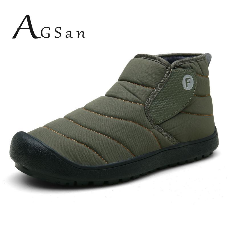 AGSan Winter Warm Snow Boots Men Ankle Boots Waterproof Shoes Plus Size 35-48 Couple Lovers Boots Shoes Plush Ankle Shoes Green