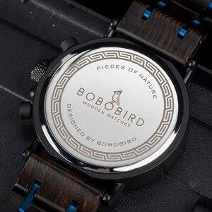 Image 5 - Bobo Vogel Relogio Masculino Horloge Mannen Hout Chronograph Horloges Mannelijke Top Merk Luxe Militaire Rvs Grooms Gift