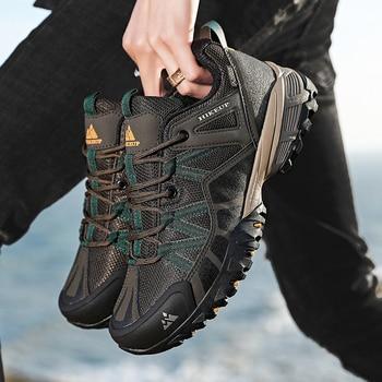 HIKEUP 2020 Summer Men Hiking Shoes Mesh Fabric Mountain Climbing Shoes Outdoor Trekking Sneakers Fishing Hunting Boots For Men 2