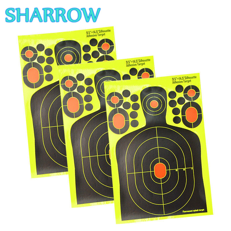 12/24 9.5×14.5″ Splatter Targets Paper Range Gun Pistol Archery Self Adhesive Target Paper For Shooting Practice Accessories