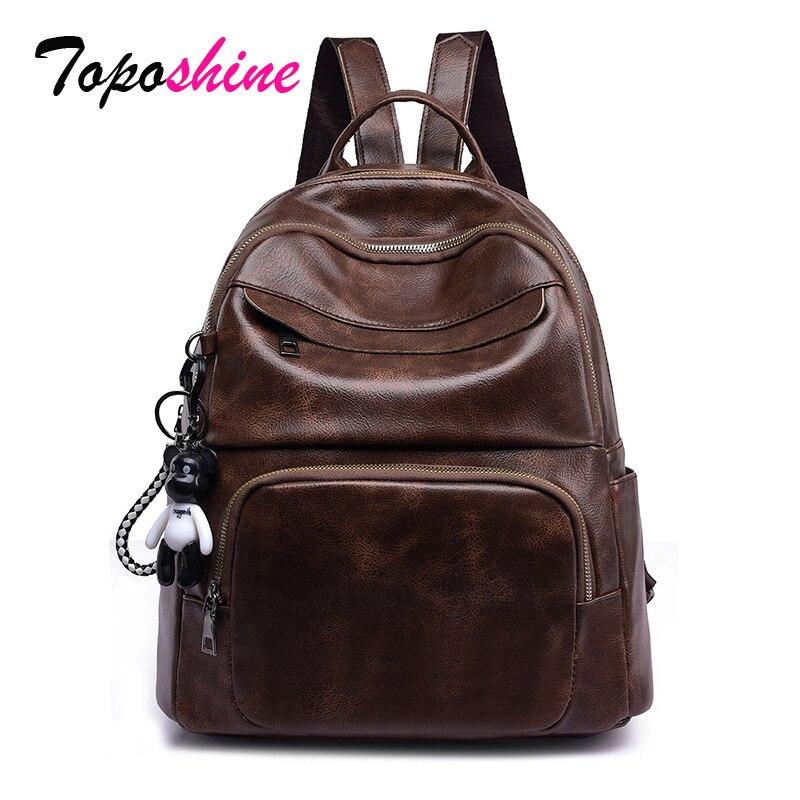 Toposhine Retro PU Leather Female Backpacks Vintage Girls School Bag Ladies Travel Coffee Black Shoulder Bag Female Backpacks