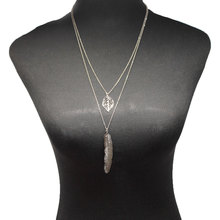 New Metal Leaf Feather Pendant Necklace Exaggerated Creative Double Layered Clavicle Chain XL631
