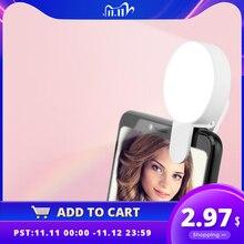 الهاتف المحمول LED Selfie مصباح مصمم على شكل حلقة المحمولة دائرة التصوير كليب ضوء الجمال ملء مصباح ل كاميرا هاتف خلوي قابلة للشحن