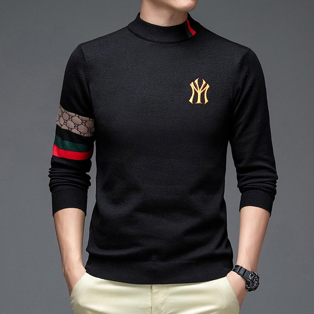 Top Grade New Autum Winter Designer Fashion Brand Luxury Knit Half Turtleneck Men Warm Woolen Sweater Casual Mens Clothing 2021 5
