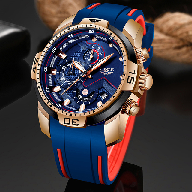 LIGE Mens Watches Top Brand Luxury Military Sport Watch Men Waterproof Luminous Wristwatch Analog Quartz Watch Relogio Masculino