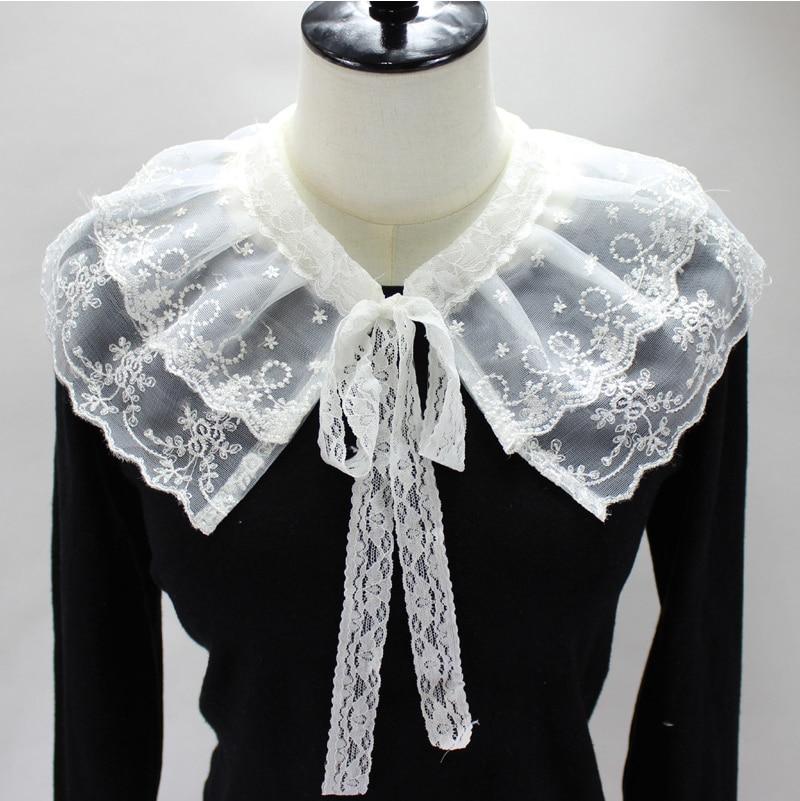 Lace Floral Hollow Fake Collars Shirt Blouse Detachable Collar for Women Neck Shawl Wrap False Collars Ladies Sweater Decor