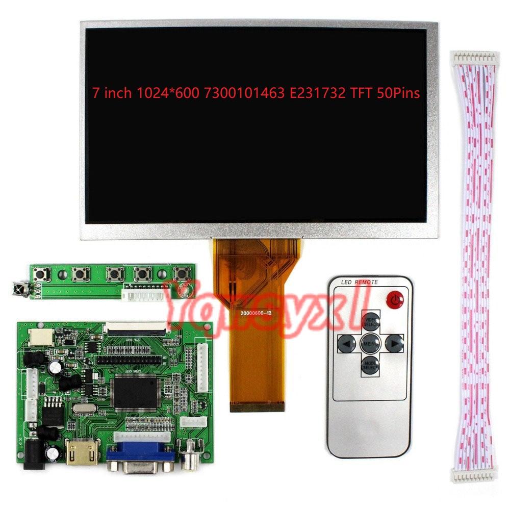 Yqwsyxl New LCD Display Screen 7 Inch 1024*600 7300101463 E231732 TFT 50Pins Monitor Driver Board 2AV HDMI VGA