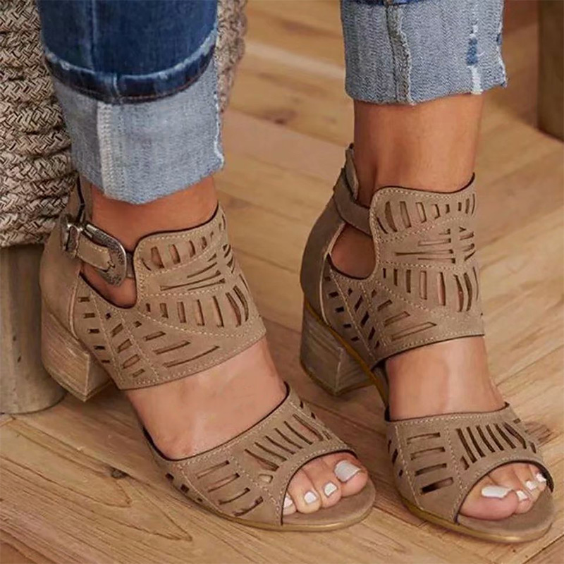 Women Sandals Square Heels Hollow Out Plus Size Gladiator Fashion Shoes Woman Buckle Strap Sandals Ladies Shoes Mujer Summer