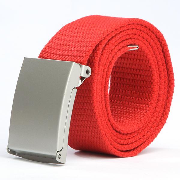 Women Waist Belt Casual Silver Metal Buckle Canvas Waistband Strap Belt For Men S1 New