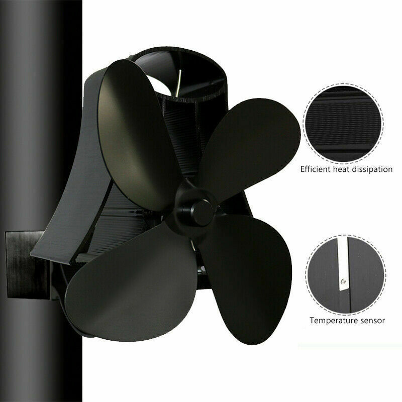 Fireplace Stove Fan Heat Distribution Powered Wall Mounted Magnetic Flue Pipe