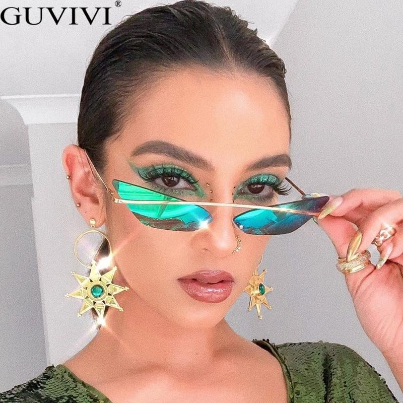 Vintage Cat Eye Sunglasses Women Trend Luxury Metal Frame Sun Glasses For Female Red Green Mirror Unique Eyeglasses Shades UV400