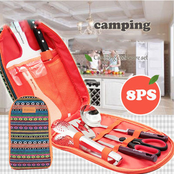 Camping Cookware Portable Kitchen Set Outdoor Camping Barbecue Cutting Board Soup Spoon Fried Shovel Rice Spoon Clip
