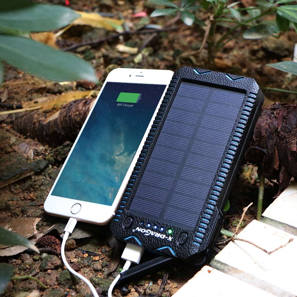 Waterproof Solar Power Bank with Cigarette Lighter and Dual USB Output Ports for Smartphone Charging 9