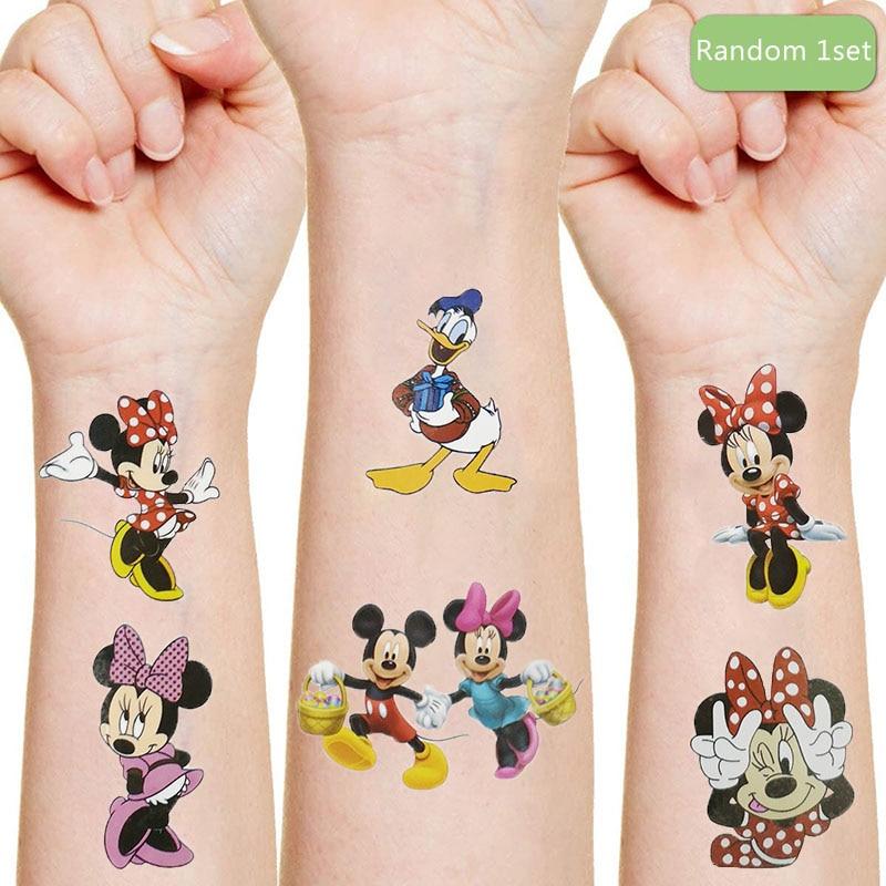 Disney Mickey Minnie mouse Originales autocollant de tatouage aléatoire 1 pièces figurine classique dessin animé enfant filles cadeau d'anniversaire de noël
