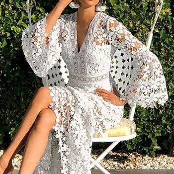 Manga de las mujeres blanco Vestido de playa o vacaciones de verano, fiesta de la moda largo Maxi vestido túnica 2020 hueco elegante mujer Vestiods