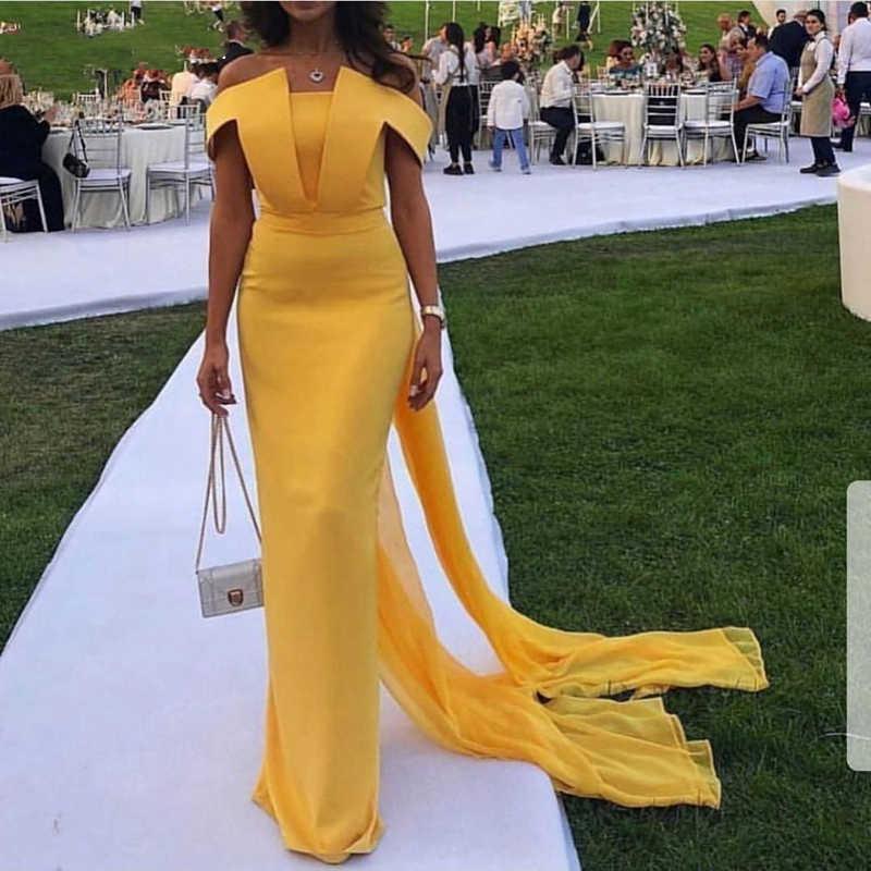 Shwaepepty/простые желтые вечерние платья-футляры с открытыми плечами, с двумя лентами, с разрезом сзади, вечерние платья для выпускного вечера