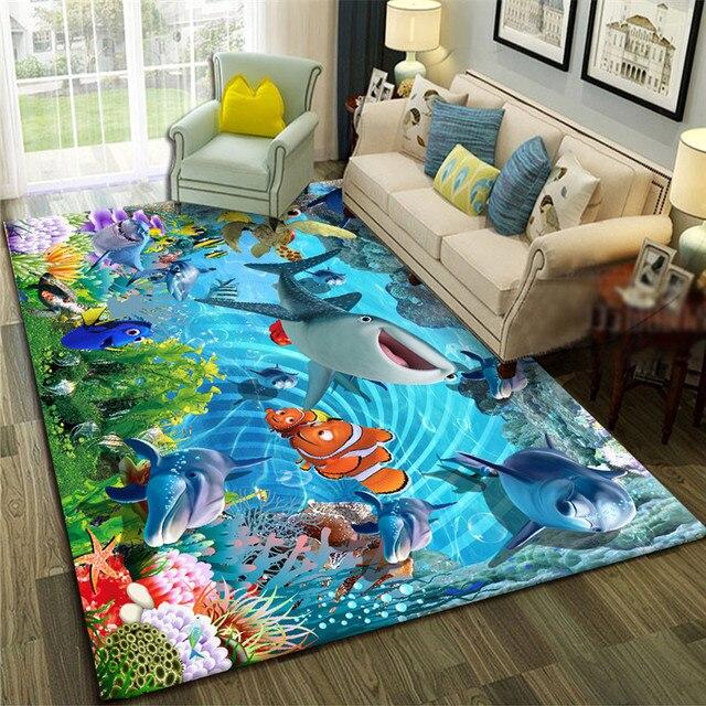 Golfinho/tubarão/peixe 3d impressão tapete para crianças quarto grande criatividade oceano padrão tapetes para sala de estar tapetes