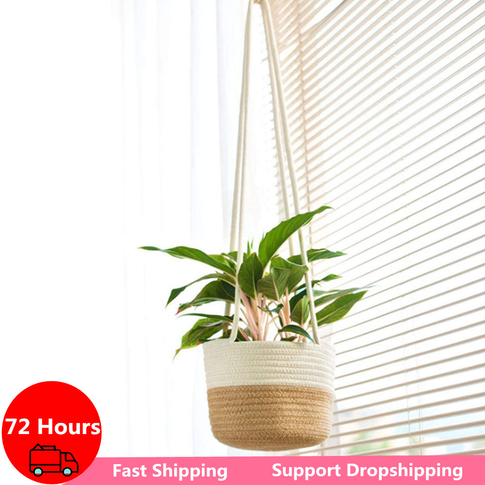 Nordic вешалка для растений садовое растение для хранения корзина из джута веревка подвесной ящик для комнатных растений, тканые цветок держа...