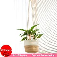 Nordic Plants Hanger Garden Plant Storage Basket Jute Rope Hanging Planter Woven Flower Holder Home Balcony Ornaments Wall Art