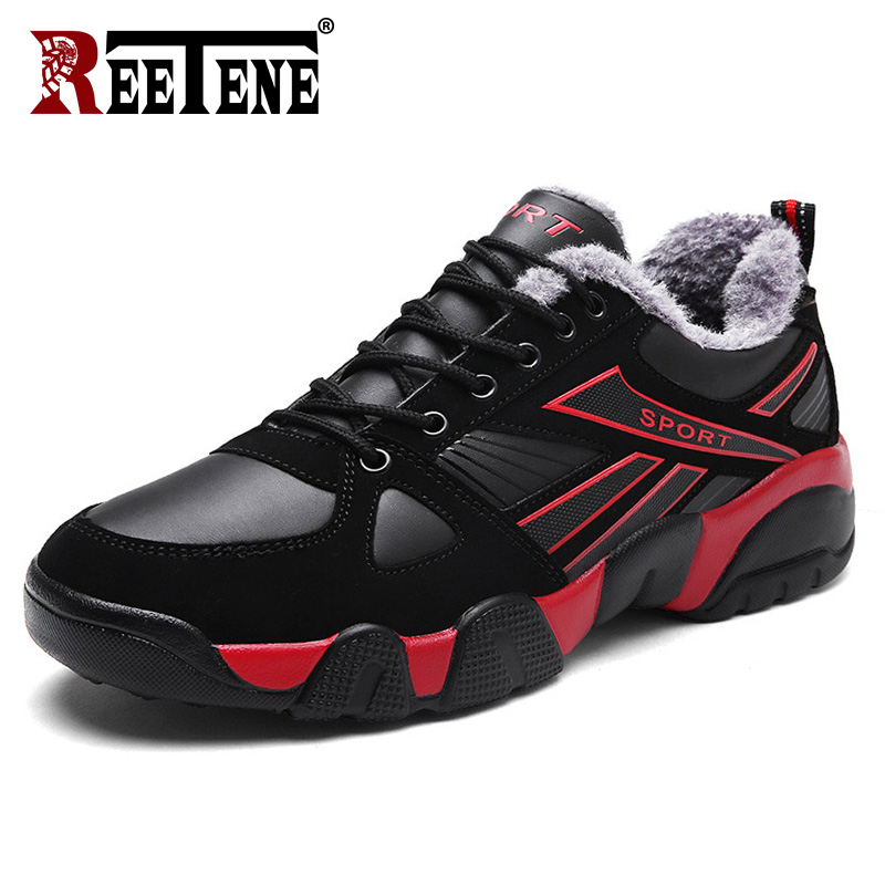 REETENE Men's Winter Shoes New Fashion Leather Men Boots Plus Size Winter Sneakers Ankle Men Shoes Comfortable Men Shoes 36-46