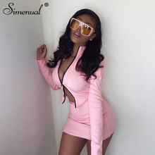 Simenual Ribbed Knitted Zipper Bodycon Two Piece Set Women Long Sleeve Casual Autumn 2020 Outfits Crop Top And Skirt Co-ord Sets