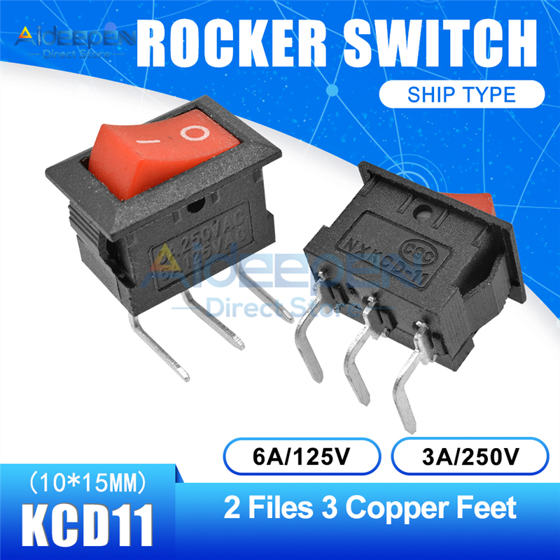 KCD11 10x15 мм кнопочный переключатель оснастка ВКЛ-ВЫКЛ 2 файла 3 файла 2/3 медные ножки лодка кулисный переключатель 10 мм* 15 мм 6A/125 В 3A/250 В - Цвет: Red 2-3P Curved