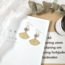Harajuku retro natural stone fan eardrop female temperament of earrings simple stud earrings long earrings accessories women earrings retro simple round geometry shape engraving natural stone turquoised earrings features texture stone earrings
