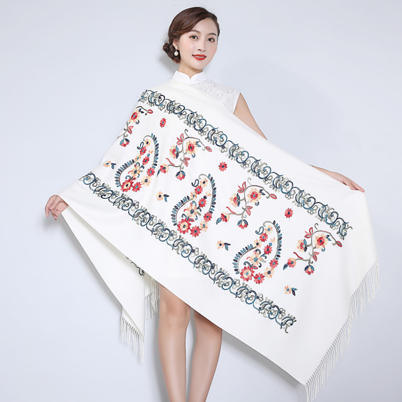 Women Embroidery Scarf Wrap Warm And Soft Châle Cashmere Pashmina Thickening Travel Edging Scarf Oversize gray Shawl 2020