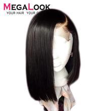 Megalook 4x4 закрытие парик короткие человеческие волосы боб кружевные парики бразильские волосы парики предварительно выщипанные с детскими волосами натуральный цвет Remy