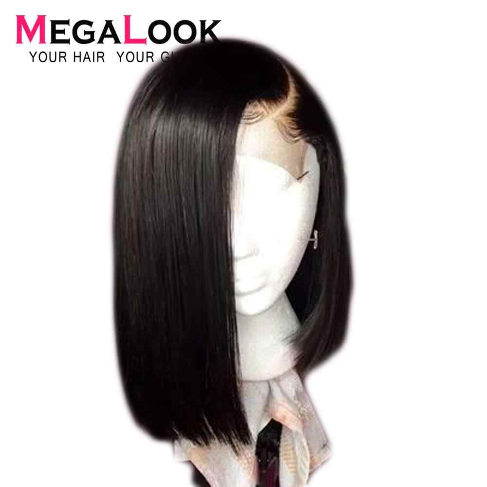 Megalook 4x4 Closure wig Short Human Hair Bob lace Wigs Brazilian Hair Wigs Pre Plucked with Baby Hair Natural Color Remy
