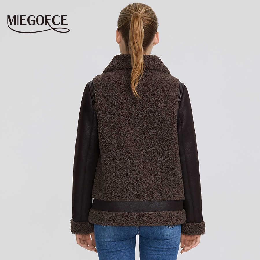 MIEGOFCE 2020 nowa zimowa damska kolekcja kurtka ze sztucznego futra kobiet płaszcz zimowy kożuch Parka wiatroodporny kołnierz z futra
