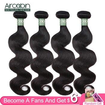 Extensiones de cabello humano brasileño Aircabin con cuerpo ondulado 100%, extensiones de cabello Remy de Color Natural de 8 pulgadas-26 pulgadas, 1/3/4 unidades por paquete