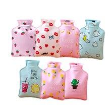 Mini bolsa de agua caliente portátil de dibujos animados bolsa de almacenamiento de inyección de agua botella de agua caliente de mano lindas botellas de agua caliente 9 estilos