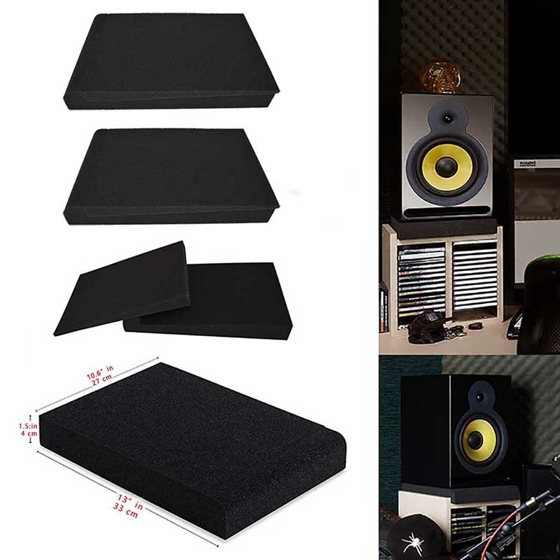 4 Set Studio Monitor Isolation Pads Pair of Two High Density Acoustic Foam Sound Treatment Plates which Fits Most Speaker Stands