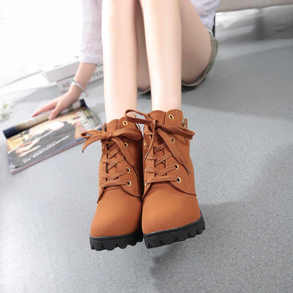 ฤดูหนาวรองเท้าข้อเท้ารองเท้าผู้หญิงรองเท้าส้นสูงหญิง Martins Boots With Fur ส้นสูง Lace Up Bootie bottes femme botas mujer A40