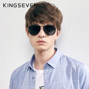 Мужские солнцезащитные очки в алюминиевой оправе KINGSEVEN
