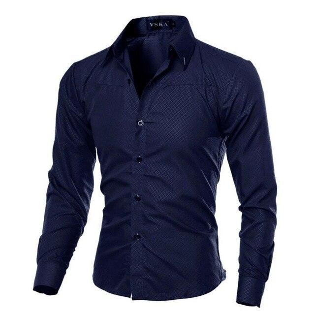 Мужская  деловая приталенная рубашка с длинными рукавами от vsego.su 5