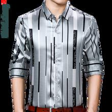 2021 camicia sociale da uomo a maniche lunghe nuovissima Streetwear camicie a righe Casual abito da uomo Slim Regular Fit abiti moda 90307