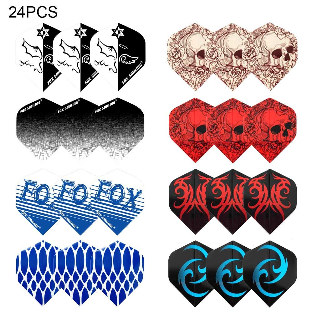 24PCS Dart Flights Thicken Newly Fox Smiling PET Darts Flights Set Black / Blue Color Darts Accessories