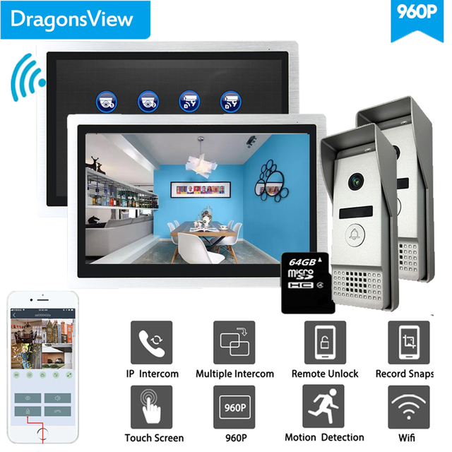 Dragonsview Smart Wifi  Video Intercom Multiple System 2 Monitors 2 Doorbell With Cameras Wide Angle Record 960P AHD
