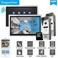 Dragonsview WiFi inteligente Video intercomunicador sistema múltiple 2 monitores 2 timbre con cámaras gran angular registro 960P AHD