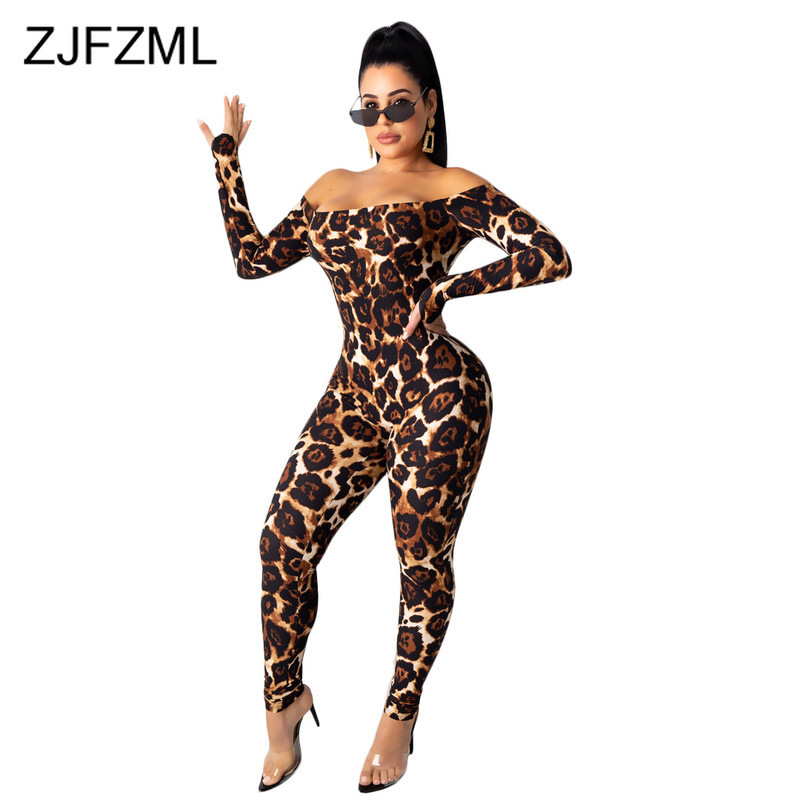 Off The Shoulder Leopard Skinny Overall For Women Backless Party Bandage Jumpsuit Autumn Long Sleeve Bodycon One Piece Rompers