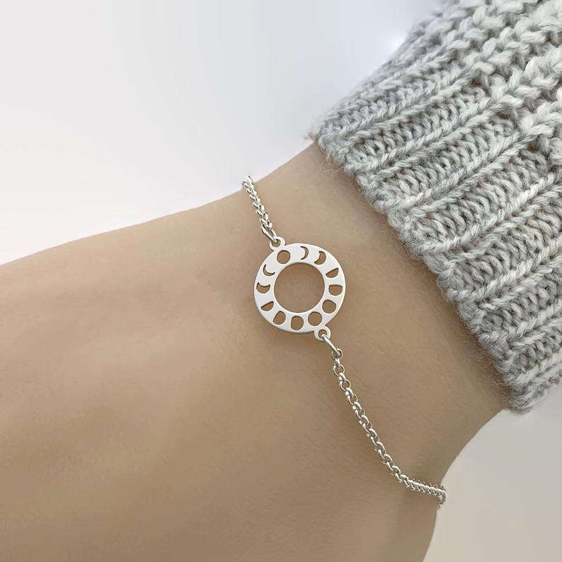 Sterling Silver Lunar Cycle Bracelet, Moon Cycle Bracelet, Moon Phase Bracelet, Celestial jewellery, Moon Phase Bracelet