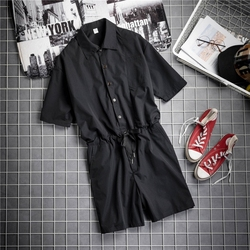 Japan Style Vintage Hip Hop Striped Short Sleeve Rompers Men Jumpsuit Knee Length Pants Summer Pocket Loose Fit Overalls Men