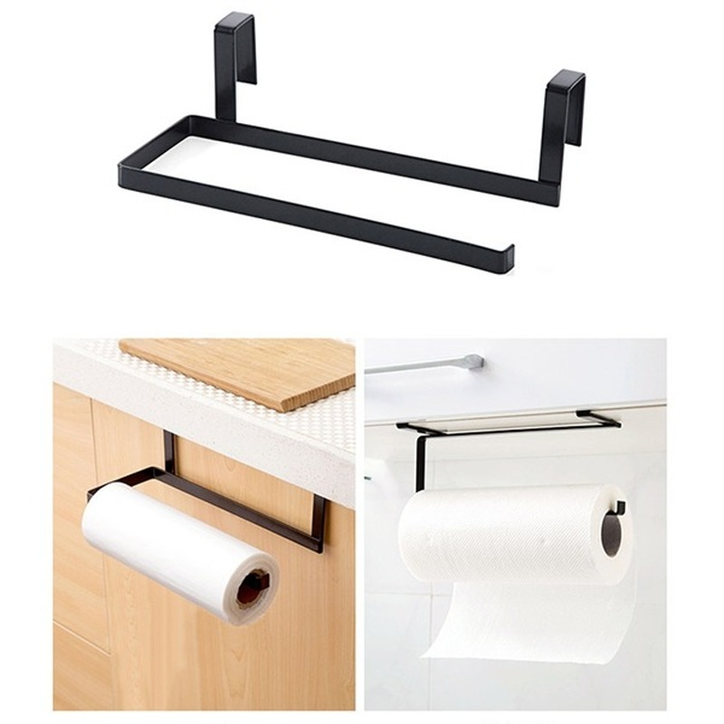 Kitchen Paper Towel Rack Hanging Bathroom Roll Paper Holder Paper Towel Rack Kitchen Cabinet Door Hook Storage Organizer LB90917